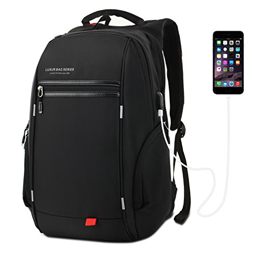 LUXUR 37L Laptop Backpack USB Charging Port Nylon Waterproof Casual School Business Travel Daypack