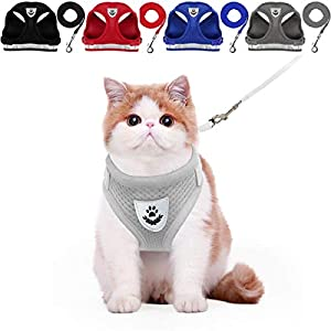 YujueShop Cat Harness and Leash Pet Vest Small Dog Harness Escape Proof Reflective Re-Adjustable Walking Soft Mesh with Pet Leash for Cats Puppies Pets (M 36.1-40cm/14.3-15.7in, Grey)
