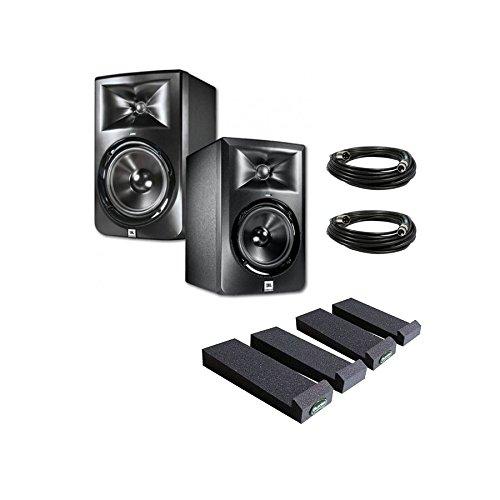 JBL LSR308 8-inch Two-Way Powered Studio Monitors (PAIR) w/ Auralex MoPads + (2) XLR (Jbl Spot)