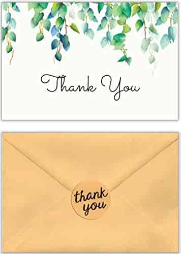 Thank You Cards with Envelopes and Stickers – White Kraft Paper Floral, Greenery Bulk Notes for Gratitude – 40 Single Design Cards for Wedding, Business, Formal, Baby Shower and All Occasions 4x6 Inch