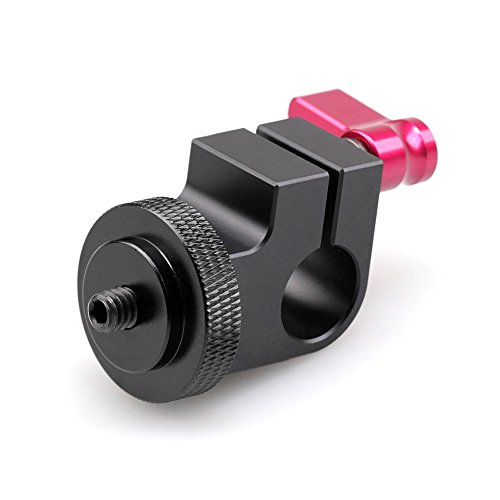 """Smallrig Dslr Rig System 15mm Rod Clamp with 1/4"""" Thread Hole to Attach Camera Microphones/Sound Recorders/Lighting Equipment,etc to 15mm Rod (Red)"""