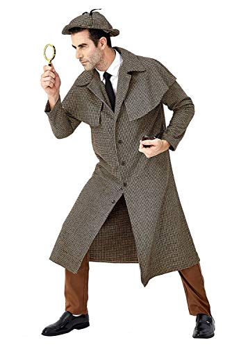 Adult Sherlock Holmes Detective Costume Coat Halloween Cosplay Victorian Button Down Jacket Outfit Uniform (L, Holmes)