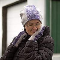 Armwarmer Beanie wool hat Fingerless mittens grey felt Wool winter women hat Windproof woman earwarmer Wristwarmer