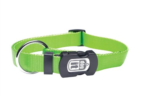 (Dogit Nylon Adjustable Single Ply Dog Collar with Plastic Snap, Small, 3/8-Inch, Green)