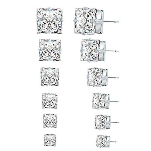 Mukexi 6 Pairs Stainless Steel Square Clear Cubic Zirconia Studs Earrings for Women & Men