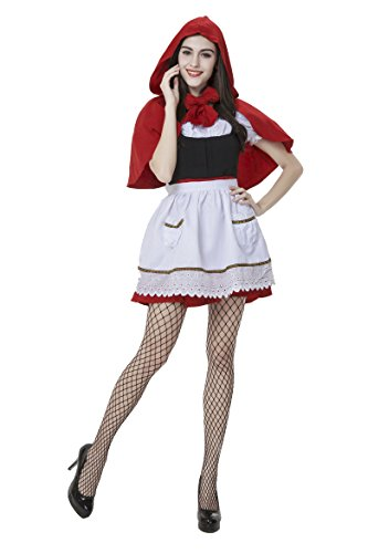 [Honeystore Women's Adult Red Hood Tutu Peasant Dress with Attached Hooded Cape Style 3] (Big Bad Wolf Outfit)