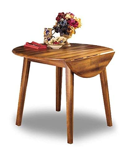 Signature Design By Ashley – Berringer Round Dining Room Drop Leaf Table – Casual Style – Rustic Brown