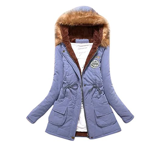 vermers Women Coats Winter, Womens Warm Long Coat Fur Collar Hooded Jacket Slim Parka Outwear(US:4/S, Sky Blue) (Fur Notched Collar Coat)