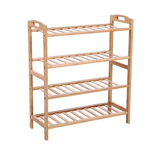 KKTONER Bamboo Wood Shoe Rack with Handle 4 Tier 12 Pairs Shoe Shelf Storage Organizer Free Standing Natural Color