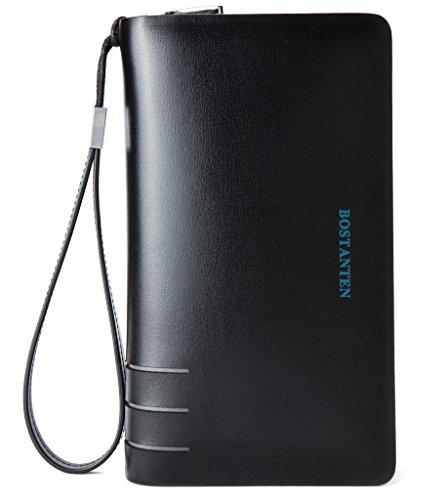 Clutch Handbag Double Zipper Leather Men Bag Black - 4