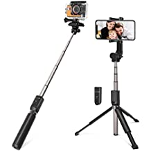 Selfie Stick for Cameras, Gopro, iPhone, Android - BlitzWolf 5 in 1 32 inch Extendable Bluetooth Selfie Stick Tripod with Removable Remote(Upgraded Version)