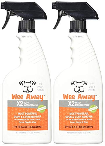Wee Away 2 Pack of X2 Dog Stain Odor Remover Concentrate Power Formula Pet Dog Spray, 16 Ounces Per Bottle