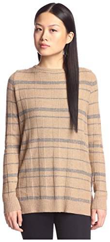 Cashmere Addiction Women's Plaid Tunic Sweater, Wood/Flannel, M