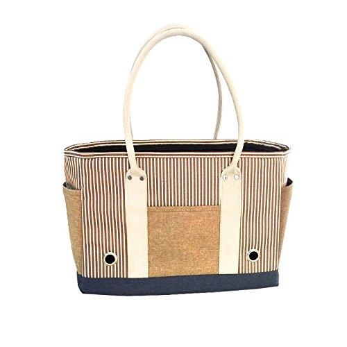 Khaki Pet Dog Outdoor Backpack Fashion Striped Shoulder Bag Foldable Portable Pet Bag , Khaki