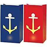 Amscan 170329 Anchor's Aweigh Nautical Party LED Luminaries Decoration, Paper, Pack of 6, 11'' H x 6'' W x 3 3/4'' D, Multi Color