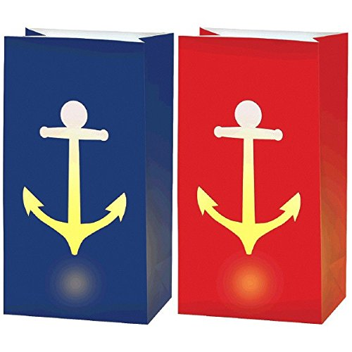 Amscan 170329 Anchor's Aweigh Nautical Party LED Luminaries Decoration, Paper, Pack of 6, 11'' H x 6'' W x 3 3/4'' D, Multi Color by Amscan
