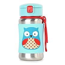 Skip Hop Zoo Insulated Stainless Steel Straw Bottle, 12 oz, Otis Owl