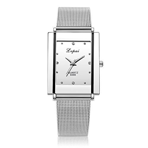 Geetobby Womens Square Face Analog Quartz Watch with Date Stainless Steel Mesh Band Ladies Wrist Watches Gift ()