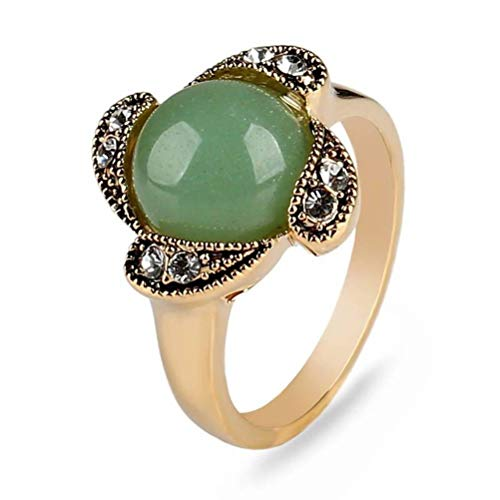 (WOZUIMEI Ring Antique Gold Natural Green Stone Vintage Ring Female Vintage Accessories Floral Ring, Green)