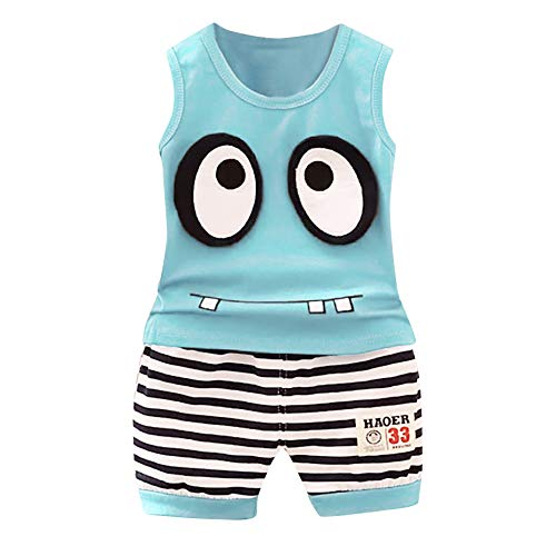 Fullwei Toddler Summer Clothes Sets Boys Cartoon Eyes T-Shirt Tops+Stripe Pants Outfits Short Set Suit for Baby Kids (Sky Blue, M)