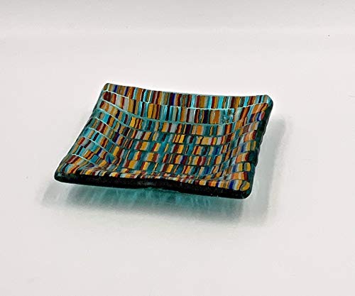 Aquamarine Fused Glass 4 Inch Decorative Bowl