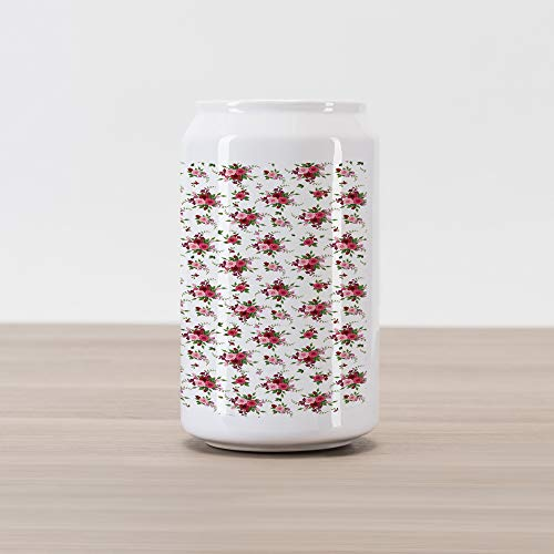 Ambesonne Flowers Cola Can Shape Piggy Bank, Bridal Bouquets Pattern with Roses and Freesia Romantic Victorian Composition, Ceramic Cola Shaped Coin Box Money Bank for Cash Saving, Pink Ruby Green