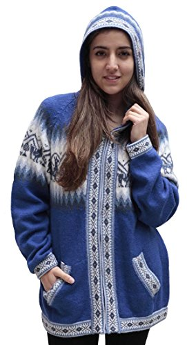 Little Llamas Hooded Alpaca Wool Knitted Jacket Hoodie Sweater (XLarge, Blue)
