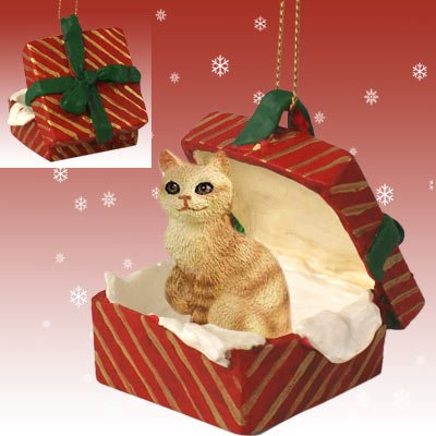 Cat Red Tabby Ginger in a Red Gift Box Christmas Ornament RGBC04 by Conversation Concepts (Image #1)