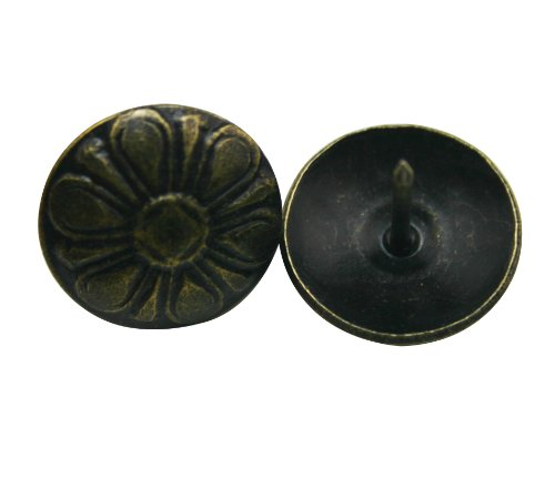 Depression Hobnail - Wuuycoky Flower Shape Round Large-Headed Nail 16mm Diameter Head Color Antique Brass Pack of 50