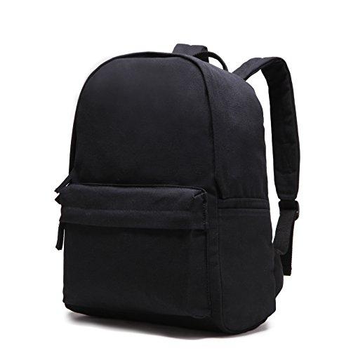 Karitco Plain Canvas Basic Multipurpose Backpack (Black) by Karitco