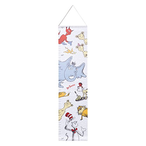 Trend Lab Dr. Seuss Friends Canvas Growth Chart, Blue/Red/Yellow/Gray/White - Canvas Newborn Growth Chart