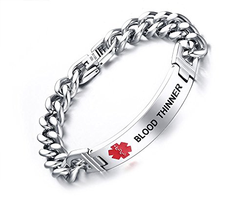 - Mealguet Jewelry Blood THINNER-12mm Stainless Steel Medical Alert ID Chain Bracelets for Men, 8.2