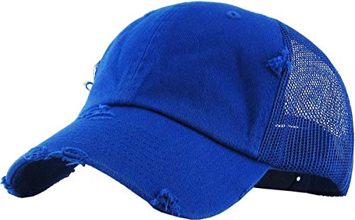 - H-6140-K57 Trucker Hat - Distressed Royal Blue
