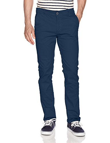 WT02 Men's Long Basic Stretch Skinny Chino Pant, Navy(New), 34X32