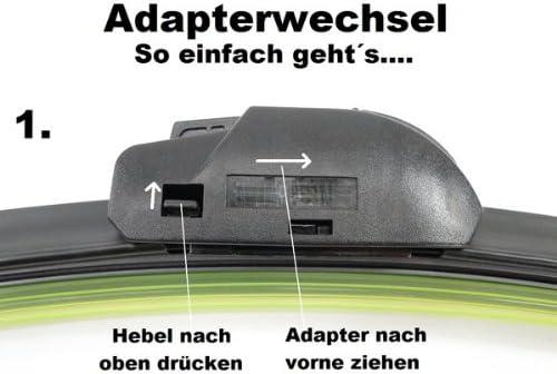 ab 08.2008 Flach Wischer Satz Set Premium Handycop/® 2x Flex//Flat Scheibenwischer f/ür Fiesta Typ JA8