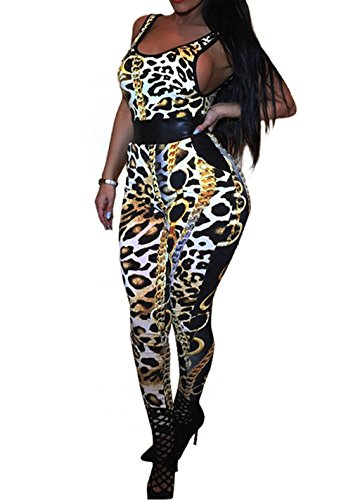[Women Sexy Halloween Costumes One Pieces Bodycon Bandage Long Pants Jumpsuit(X-Large, Leopard)] (Army Halloween Costumes Women)