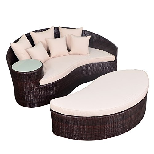 Yoto Rattan Taiji Outdoor Wicker Patio Sofa Daybed Newport Circular Sun Bed Furniture Round with Ottoman (Espresso Beige 907N) by Yoto Rattan