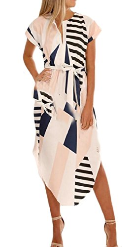 V Neck Dress Short Womens Jaycargogo Pattern 1 with Geometric Sleeve Midi Belt Beach wqC5zB
