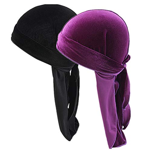 Unisex 2PCS Deluxe Velvet Durag 360,540,720 Waves Headwraps Pirate Cap Long Tail Doorag (Black+Purple)