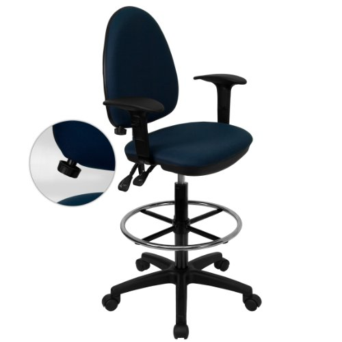 My Friendly Office MFO Mid-Back Navy Blue Fabric Multi-Functional Drafting Stool with Arms and Adjustable Lumbar ()