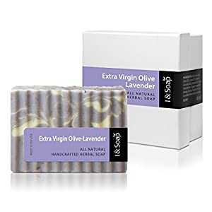 I & SOAP, Extra Virgin Olive-Lavender Soap - 100% Natural & Organic Materials - Handcrafted Herbal Soap - Gentle and Effective Facial, Hand and Body Cleansing Soap Bars - Best Natural Skin Care for Very Dry Skin or Sensitive Skin - Deeply Moisturizing Soft Soap - **Sodium Lauryl Sulfate(SLS), Paraben and Phthalate FREE - 100% Satisfaction GUARANTEED - Extra Virgin Olive-Lavender