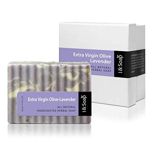 I & SOAP, Extra Virgin Olive-Lavender Soap - 100% Natural & Organic Materials - Handcrafted Herbal Soap - Gentle and Effective Facial, Hand and Body Cleansing Soap Bars - Best Natural Skin Care for Very Dry Skin or Sensitive Skin - Deeply Moisturizing Soft Soap - **Sodium Lauryl Sulfate(SLS), Paraben and Phthalate FREE - 100% Satisfaction GUARANTEED - Extra Virgin Olive-Lavender ()