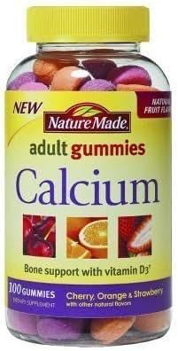 Nature Made Adult Gummies Calcium, Cherry, Orange & Srawberry Flavors, 100 Gummies