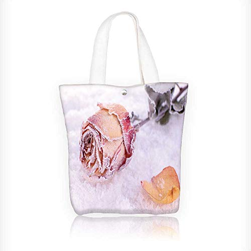 (canvas tote bag Dried rose covered with hoarfrost on snow close up reusable canvas bag bulk for grocery,shopping W11xH11xD3 INCH)