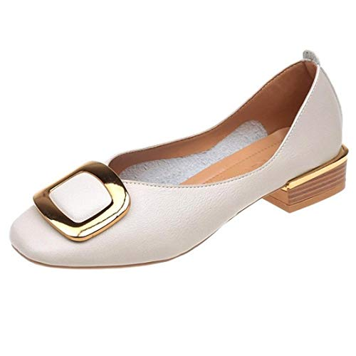 Autumn Heel Mouth FALAIDUO British Retro Single Beige Small Women Fashion Shoes Shallow Winter Shoes Shoes Thick RROqt