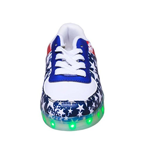 (Present:small towel)JUNGLEST® 7 Colors Stars Led Shoes Light Up For Adults Red X0KI8Mh