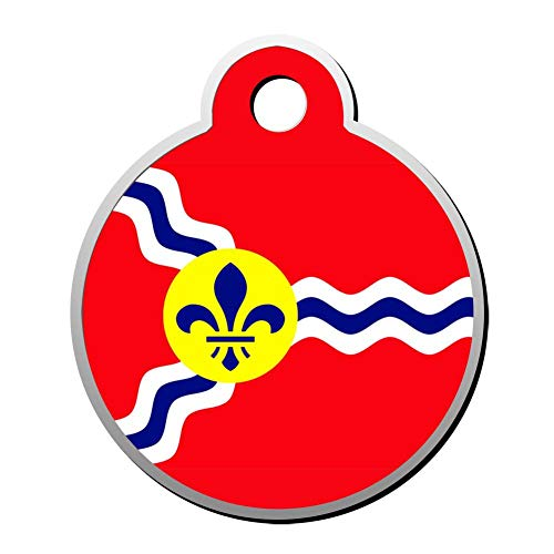 BSARRE St Louis Missouri Flag Dog Cat Tags Personalized Double Sided Stainless Steel Round Pet ID Tag