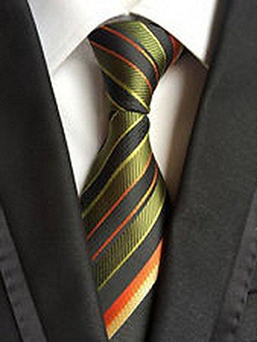 [Calvinci - Classic Striped Green Black JACQUARD WOVEN 100% Silk Men's Tie Necktie TGIN 120122] (Classic Playboy Bunny Costume Black)