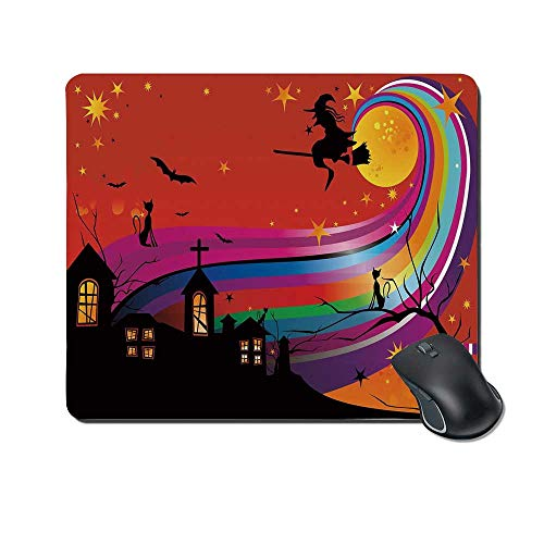 Halloween Durable Mouse Pad,Witch Woman on Broomstick Bats Cat Stars Rainbow Moon Castle Abstract Colorful Decorative for Office Home,9.4