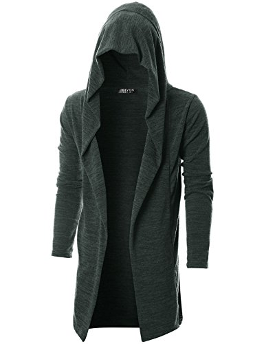 (GIVON Mens Long Sleeve Draped Lightweight Open Front Longline Hooded Cardigan/DCC055-DARKCHARCOAL-XXXL)